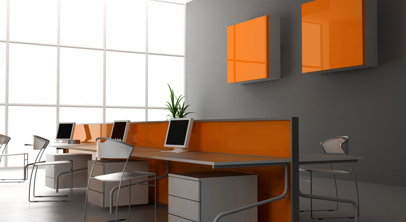 Grey And Orange Background In Office